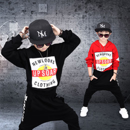Wholesale Hip Hop Suits Girls - Boy Hip-hop Clothes Sets 2017 Spring Autumn Long Sleeved Hooded Hoodies + Pants 2PCS Baby Girls Outfits Kids UPSOAR Jogging Suits