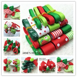Wholesale Grosgrain Stitched Ribbons - TC17 Free Shipping Retail Christmas Style Ribbon Set Mix.Decorative Printed Grosgrain Ribbon 23 Meters Mix