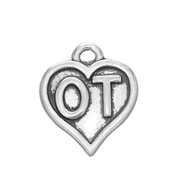 Wholesale Made Love Silver Charm - 100pcs lot Physical Therapy & Occupational Therapy Heart Statement Charm Antique Silver Plated For Jewelry Making (184777)