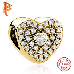 Wholesale Pandora Gold Bead Authentic - BELAWANG 925 Sterling Silver Authentic Jewelry Accessories Gold Heart Shape Charm Crystal Beads Fit Pandora Charm Bracelet Making For Women