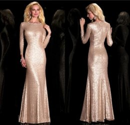 Wholesale Gold Rose Bride Dress - 2017 Rose Gold Mother Of The Bride Dresses Long Sleeve Mermaid Formal Mother Dresses With Sequins Sheath Prom Gowns For Women Custom Made
