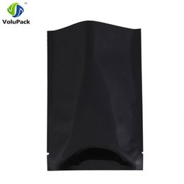"Wholesale Aluminium Foil Food Bag - 12x18cm (4.7x7.1"") Flat Black Metallic Open Top Bags w  Tear Notches heat seal Aluminium Foil mylar food storage packaging bags"