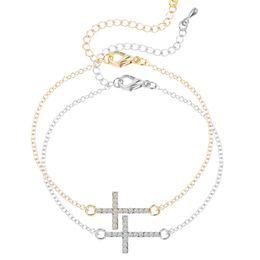 Wholesale Sideway Cross Charm Wholesale - Wholesale-1pcs Rhinestone Sideway Cross Bracelet in Silver or Gold Plated Rhinestone Cross Charm Bracelet For Women Jesus Piece