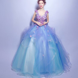 Wholesale Dress Quinceanera Hot Sale - New Arrival Hot Sale Fashion Elegant Stage Performance Organza Royal Sexy Annual Blue Flowers Deep V-Neck Annual Gown Bridal Evening Dress