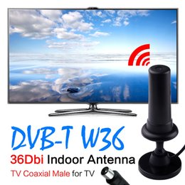 Wholesale 36dbi Antenna - 2017 HOT HD Gain Black Digital DVB-TW36 36dBi 470-862MHz Booster Indoor Antenna For HDTV digital tv signal amplifier Sale