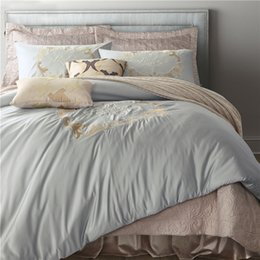 Wholesale Dragon Comforter King Size - Night Tender dragon embroidered washed silk bedding set duvet cover bed skirt pillow cases 4pcs king queen size