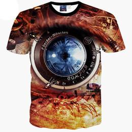 Wholesale Funny Vintage Shirts - 3D T shirts Vintage mechanical watch print 3d t shirt men's summer tops tees short sleeve casual t-shirt funny tshirt