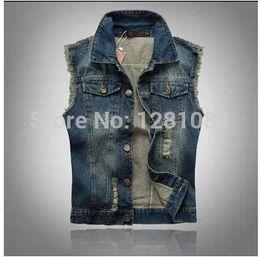 Wholesale Motorcycle Jean Jackets For Men - Wholesale- Men motorcycle jean vest Sleeveless Jackets for Man Spring-autumn casual fashion Slim Fit Blue denim vest Large Size 6XL Vests