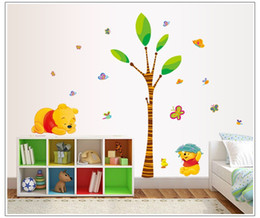Wholesale Winnie Pooh Tree - * cute cartoon Winnie the Pooh playing under the tree bear butterfly children's room wall decorative wall stickers home decals