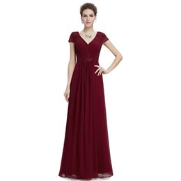Wholesale Chinese Style Sexy Dress - Evening Dresses Chinese Style Sheath V-Neck Short Sleeves Chiffon Lace Appliques Pleats Empire Waistline Floor Length Prom Dresses