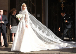 Wholesale Champagne Gems - Nicky Hilton Wedding Dresses 2016 Vintage Lace A Line Garden Bridal Gowns Sheer High Neck Glamorous Gems Long Sleeves Zipper Cathedral Train