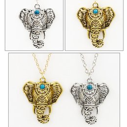 Wholesale Turquoise Silver Choker - Necklaces & Pendants For Women Vintage Necklace Silver Turquoise Elephant Charm Pendant Chain Choker Jewelry Chain Pendant necklace