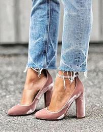 Wholesale Block Dresses - Elegant Pink Femme Talon New Designer Ankle Buckle Strap Pumps Block High Heels Dress Shoes Woman Wrap Around Velvet Pumps