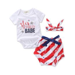 Wholesale Girl Suit Flag - INS Baby Outfits Independence Day Girls Clothing Sets Letter Romper + Star Stripe Shorts + Bow Headband 3pcs Suits american flag Sets C1351