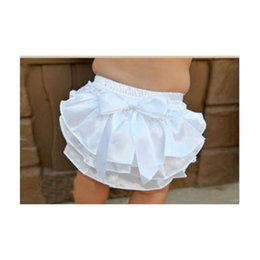 Wholesale Satin Lace Infant Bloomers - 2016 Baby Gir Ruffle Bloomer Pettiskirt Diaper Cover Panties Layers Satin Toddler Bottom Briefs Infant Summer Nappy Shorts