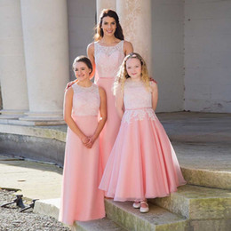 Wholesale Online Kids Dresses - Custom Online Pink Lace Party Long Chiffon or Organza Kids Adult Bridesmaid Gown in Bulk