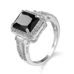 Wholesale White Zircon Ring Gold - 2017 New Big Black Zircon Stone 10KT White Gold Filled Wedding Band Ring For Lady Sz6-10