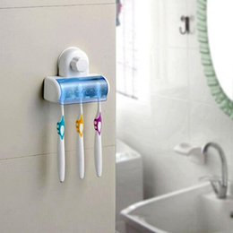 Wholesale Tooth Brush Cup - Wholesale- Suction Cup Wall Mount Bathroom 5 Hooks Toothbrush Holder Tooth Brush Holder For Toothbrushes Accessories For Bathroom Set