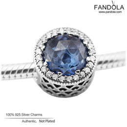 Wholesale Moonlight Jewelry - Wholesale- Brand New 925 Sterling-Silver-Jewelry Radiant Hearts Moonlight Blue Crystal Charm Beads DIY Jewelry Making with Logo FL469