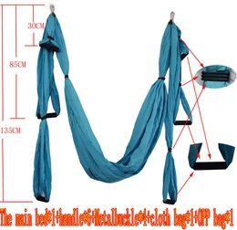Wholesale Yoga Inversion - Wholesale- Aerial Yoga Hammock Parachute Fabric Swing Inversion Therapy Anti-gravity High Strength Decompression Hammock Yoga Gym Hanging