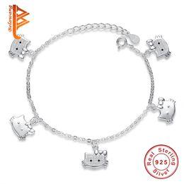 Wholesale Kitty Link - BELAWANG Wholesale 925 Sterling Silver Animals Pendants Bracelet Kitty Cat Pendant Link Chain Bracelets&Bangles Fashion Jewelry Gift