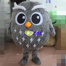 Mascotes da coruja on-line-FUMAT Marrom Cinza Coruja Mascot Costume Crianças Coruja Dos Desenhos Animados Traje Da Mascote Dos Miúdos Da Mascote Com o Ventilador Tamanho Adulto Imagem Personalizada