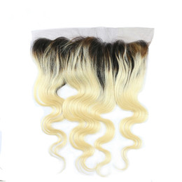 2019 mongolian fechamento de seda de cabelo encaracolado profundo # 1b / 613 Ombre Onda Do Corpo Fechamento Frontal Do Laço Virgem Brasileiro 13 * 4 Lace Frontal Com o Cabelo Do Bebê 1B Loiro Dois Tons de Cabelo Humano