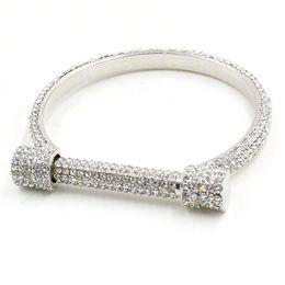 Wholesale Crystal Arms - Wholesale- Luxury Crystal Horseshoe Cuff Bracelets Bangles Women Bijoux Silver Plated Full Rhinestones Arm Cuff Pulseira Feminina