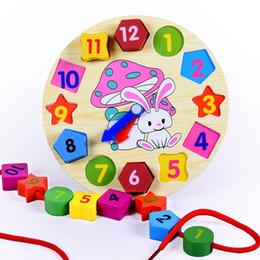 Wholesale Wholesale Preschool Block - Wholesale- Kids toys cute threading clock wooden toys kids digital shape cognitive toys kids building blocks preschool educational toy