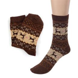 Wholesale Hosiery Designs - Wholesale- Bulk Price Winter Warm Christmas Deer Design Deer Pattern Casual Knit Wool Socks Mens Women Unisex Hosiery Meias Fast Shipping