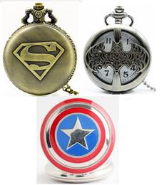 Wholesale Wholesale Vintage Style Pocket Watch - Big 47MM superman batman Captain America mens students boys necklace chain pocket watch wholesale 3 styles Bronze Vintage watch