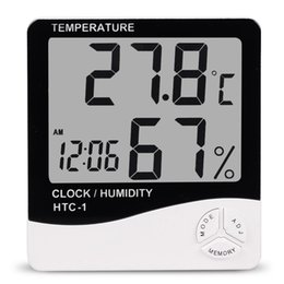 Wholesale Temperature Station Indoor - Indoor Room LCD Electronic Temperature Humidity Meter Digital Thermometer Hygrometer Weather Station Alarm Clock HTC-1