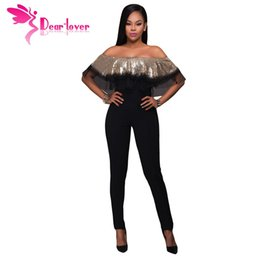 Wholesale Sequin Jumpsuits For Women - Dear-Lover Sexy Club Party Off Shoulder Playsuit Gold Sequin Ruffle Top Slim Jumpsuit High Waist Pant Overalls for Women LC64249 17410