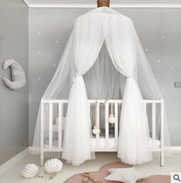 Wholesale Door Mosquito Curtain - INS Baby mosquito net photography props summer Kids tent cotton gauze hung room decoration bed canopy curtain round crib netting 240cm T0279