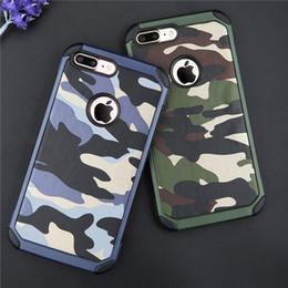 funda protectora de camo iphone Rebajas 2 en 1 Army Camo Patrón de camuflaje contraportada Fundas protectoras de plástico duro y suave armadura de TPU para iPhone 5 5S 6 6 más