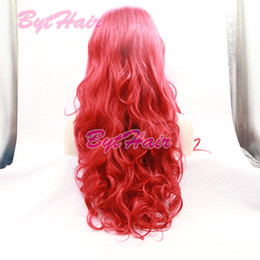 Wholesale Wigs Rose Red - Bythair Long Body Wave Amaranth Red Synthetic Lace Front Wig Half Hand Tied Bouncy Rose Red Heat Resistant Fiber Hair For Women