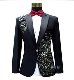 Wholesale ceremony suits men - Wholesale- Men suit Embroidered black suit Master of ceremonies Slim performance suits Wedding suits for men