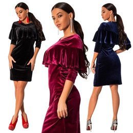 Wholesale Cheap Casual Winter Mini Dresses - High Quality Velvet New Design Women Party Dress with Crew neck 3 4 Sleeves Ruffle Elegant Lady Dress Cheap Casual Dresses 2017