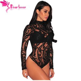 Wholesale Printed Jumpsuits Woman - Dear-Lover Bodysuits Women Rompers Skinny Jumpsuits Autumn Sexy Pink Black Sheer Mesh Print Button Long Sleeves Bodysuit LC32110 17410