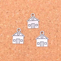 Wholesale Silver House Pendant - 150pcs Tibetan Silver Plated cabin house building Charms Pendants for Jewelry Making DIY Handmade Craft 16*12mm