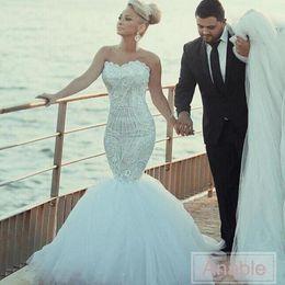 Wholesale Detachable Shirt Lace Wedding Dress - Elegant Lace Wedding Dresses Shinny Beaded Crystal Mermaid Bridal Gowns Sweetheart Strapless vestido de noiva Detachable Train Wedding Dress