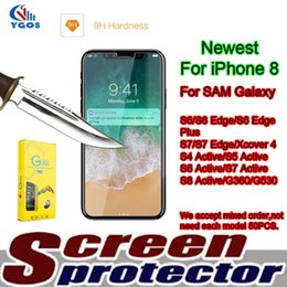 Wholesale Edge Active - Galaxy S7 Tempered Glass Screen Protector For Samsung Galaxy S6 Edge S4 Active S5 S6 S8 Active Xcover 4 J5 Prime J7 With Retail Packing