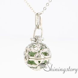 Wholesale 3d sign letters - peace sign 3D ball metal volcanic stone essential oil holder necklace