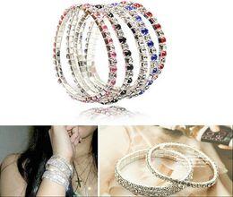 Wholesale Girls Elastic Bracelet - Wholesale 18K platinum gold plated austrian crystal bracelet strand wrap elastic women girl bracelets fashion jewelry for Women