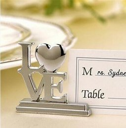 Wholesale Love Place Cards - Wholesale- 20 pcs lot Wedding Favor LOVE Metal Place Card Holder with Matching Place Card Silver wedding decoration accessory