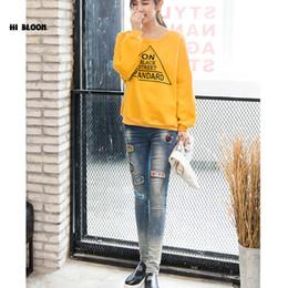 Wholesale Maternity Denim Jeans - Maternity Fashion Hole Embroidery Jeans Autumn Winter Plus Size Cotton Pregnant Clothing Denim Pants Autumn Large Jeans Trouses