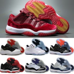 Wholesale Red Satin Boots - Wholesale XI(11) LOW Bred Retro Basketball Shoes Black Red Sports Boots 11s Low Concords Men women Athletics Discount Sneakers Boots