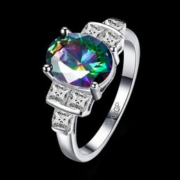 Wholesale Oval Vintage Ring - Vintage 18k Gold Plated Queen Fancy Natural Mystic Topaz Oval Gemstone Jewelry Austrian Crystal Wedding Ring for lovers