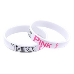 Wholesale Breasts Silicon - Wholesale Shipping 100PCS Lot Think Pink Silicon Wristbands For Breast Cancer Awareness, Pink Ribbon Bracelet, Free Shipping