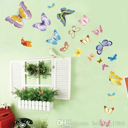 Pared de papel tapiz mariposa online-Etiqueta de la pared Extraíble Colorido Mariposa Moscas Paisaje Wallpaper Wallpaper Home Decor Decal Non Toxic Creative Pastoral Style 1 5qc J R